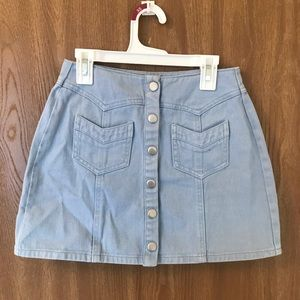 Kendall and Kylie baby blue denim mini skirt